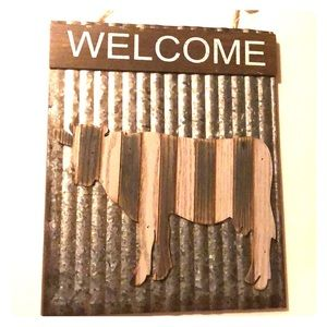 Rustic Cow Welcome Sign
